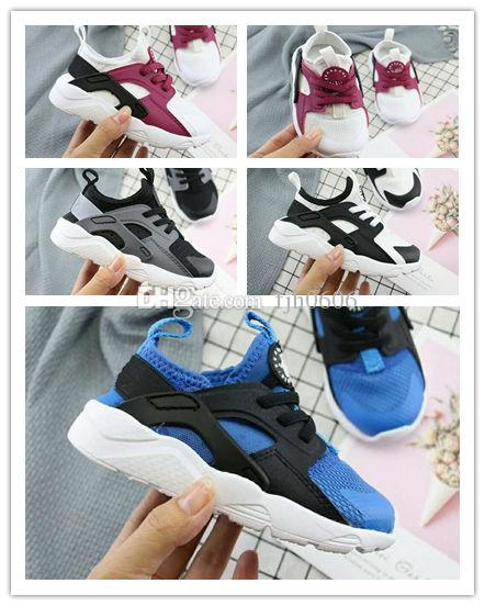 (box)2018 Air Huarache 4 kids Running Shoes All White Huraches Zapatos Ultra Breathe Huaraches children Trainers Hurache Sports Sneakers