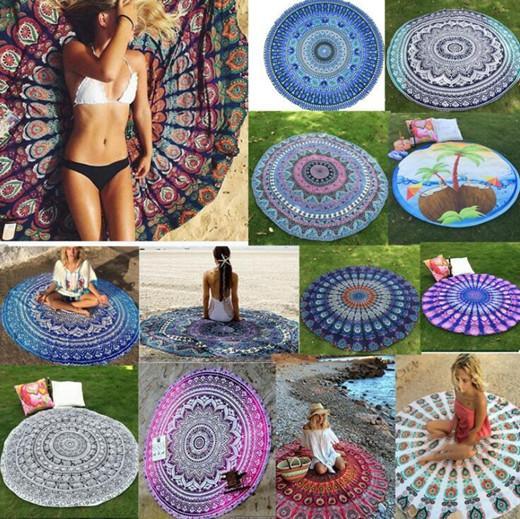 Strand Teppich Mode Kreis Polyester europäische amerikanische Art-Pfau-Endstück Karikatur druckte Lady Wraps Badetuch Sommer-Picknick-Teppich WY530Q