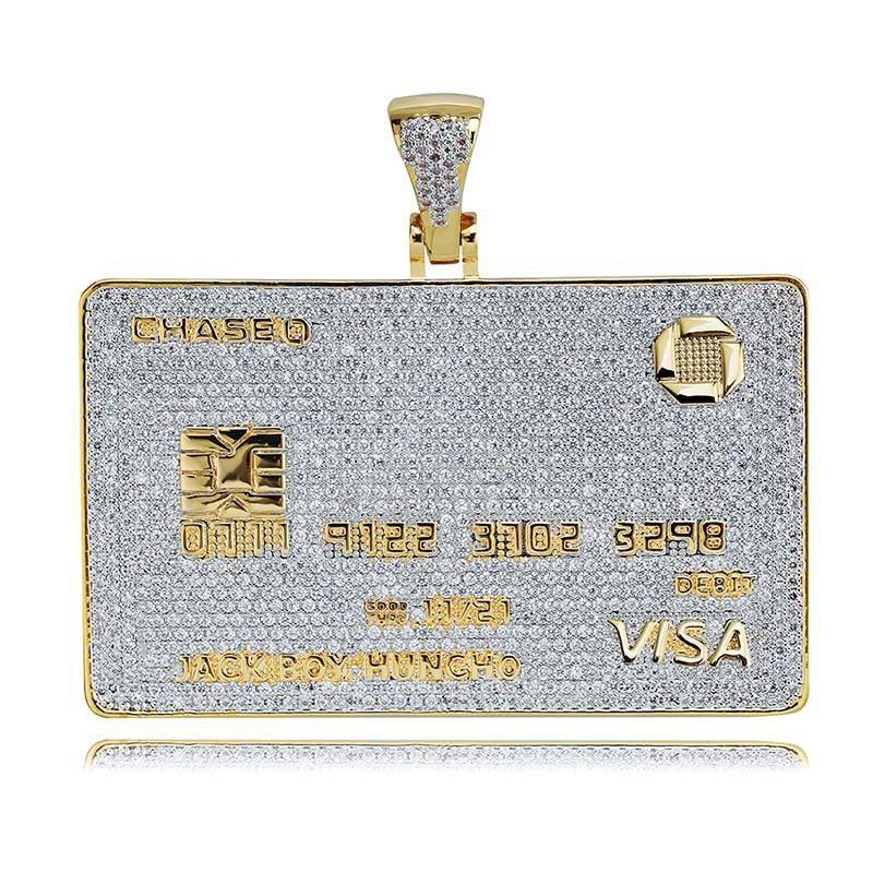 Iced Out Visa Diamond Carta di credito collana pendente collana 18 carati placcato oro mens hiphop bling gioielli regalo