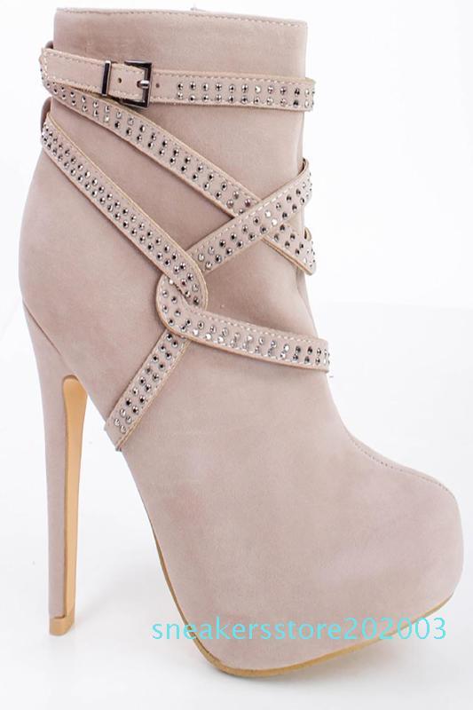 High Heel ASHIOFU Handmade Ladies Plataforma Botas Cross-fivelas Partido Prom tornozelo Sapatinho Side-zipper Tamanho Grande Moda Botas S03