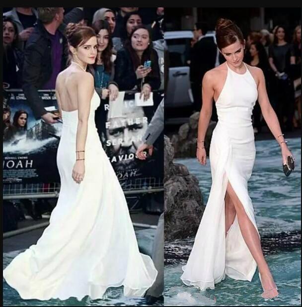 Roter Teppich Promi Emma Watson Party Kleider Lang Sexy Backless Side Split Halfter Günstige Weiß Besondere Anlässe Abendkleider