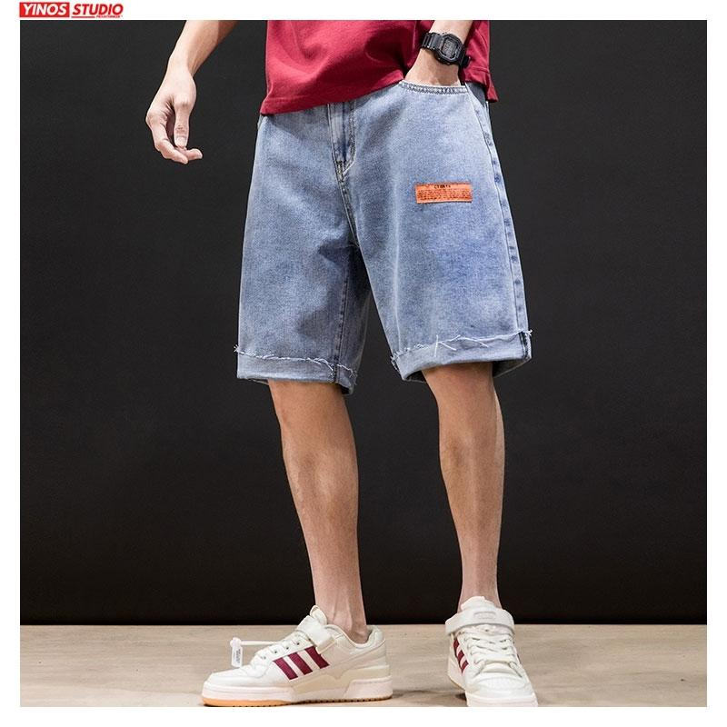 Hip Dropshipping Homens Verão Hop Denim Shorts Mens Knee 2020 Comprimento coreano tamanho grande soltas Jeans masculino Moda Casual Denim Shorts T200520