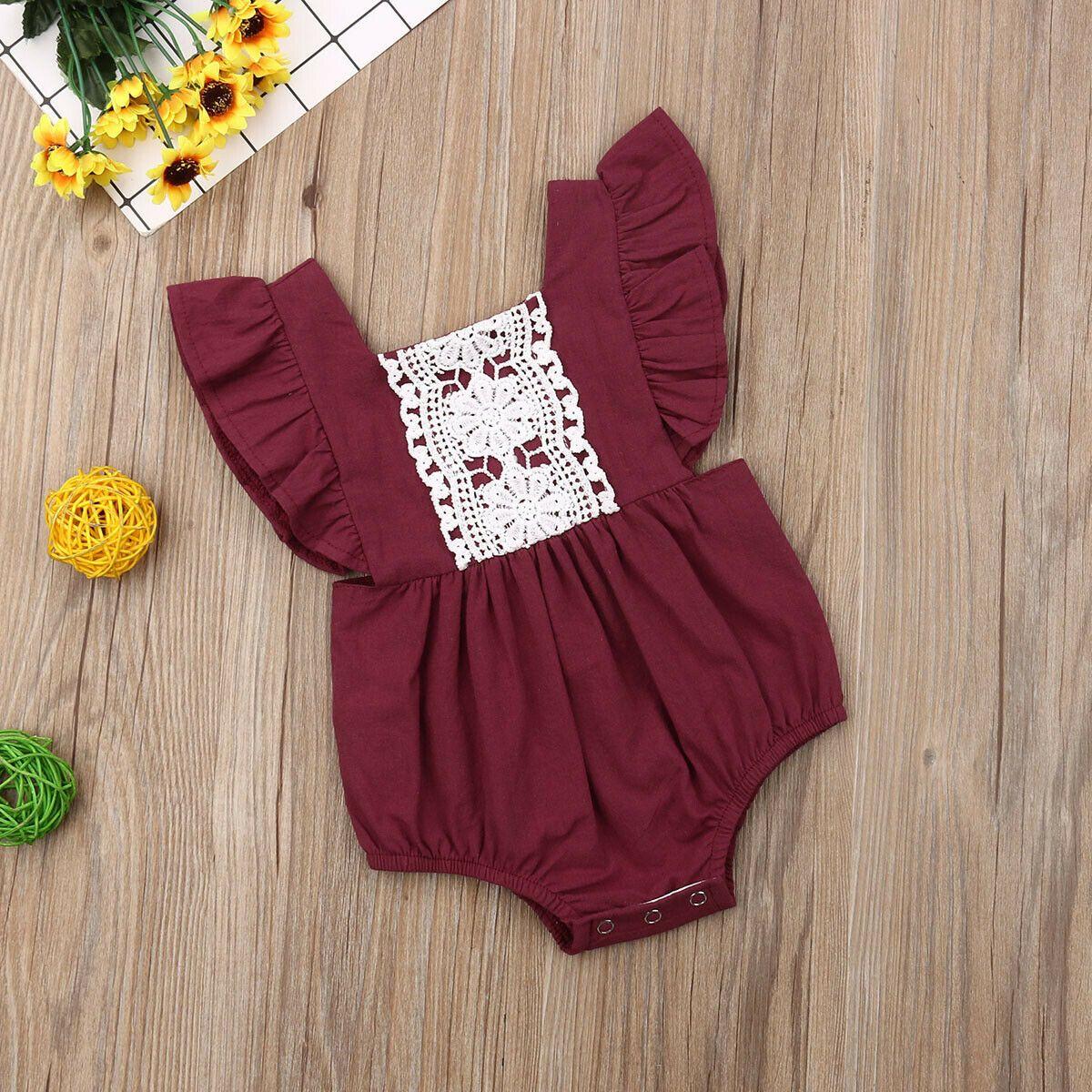 Yenidoğan Bebek Kız Bodysuits Giyim Dantel fırfır Prenses Yürüyor Bebek Tulumlar Kıyafetler Sunsuit Yaz Bebek Çocuk Kostümleri