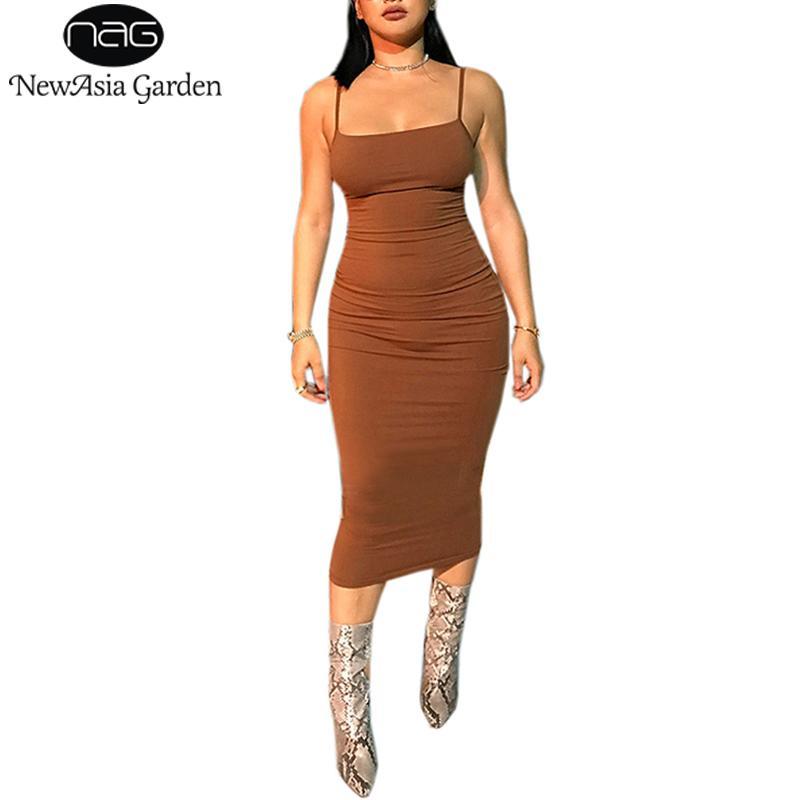 NewAsia 2018 de algodón de verano se visten 2 capas del tubo atractivo de las mujeres bodycon vestido de Midi Blanco Vestidos Largo Vestidos casual deslizamiento Nueva