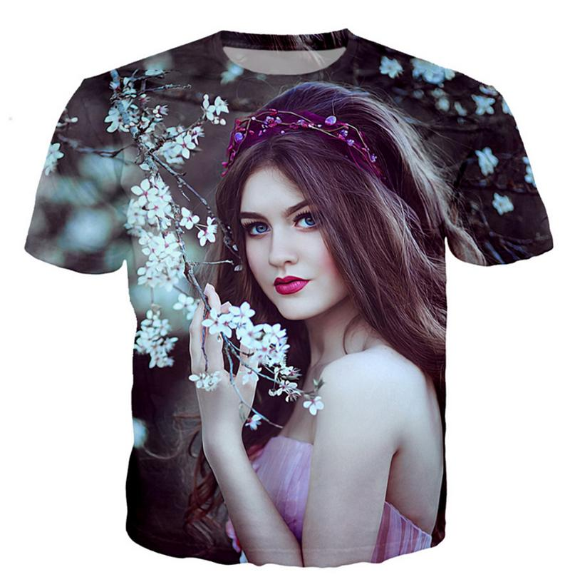 Fashion Men/Women 3D Print flowers and pretty girl skirt Casual T-Shirt Short Sleeve TF70