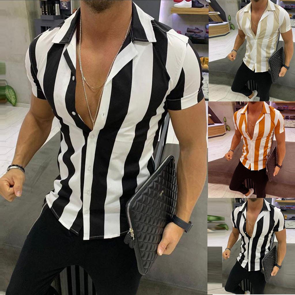Manica corta Mens stampato splicing striscia colorata Chemise Hombre Shirts Men Dress Office Work formale camicia casual