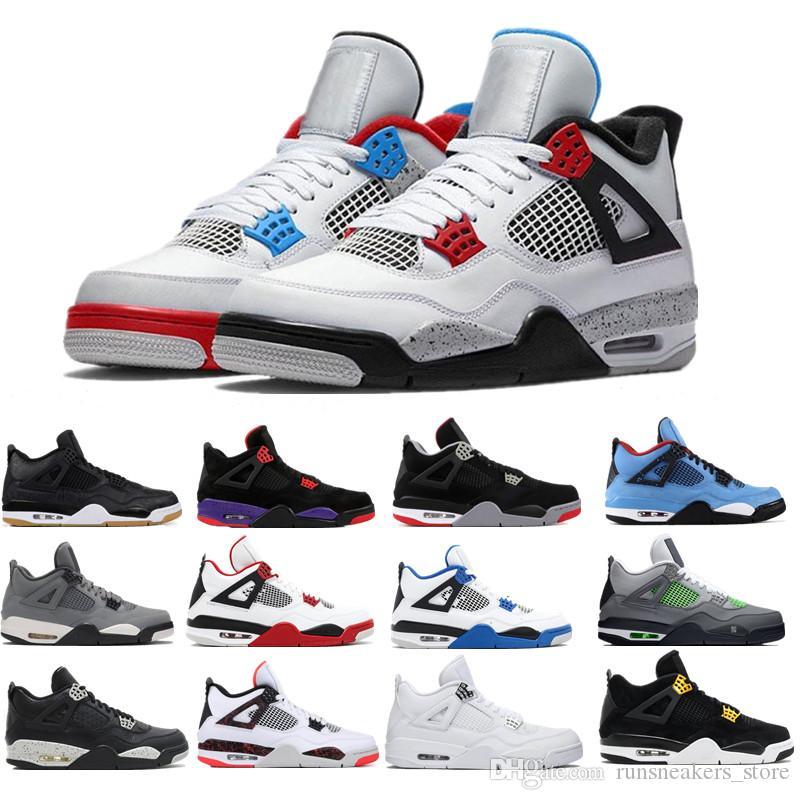 2020 Bred 4 4S basquete sapatos masculinos homens laser em preto goma trovão Royalty tatuagem quentes rapotors lava de designer sneakers IV formadores dinheiro Pure