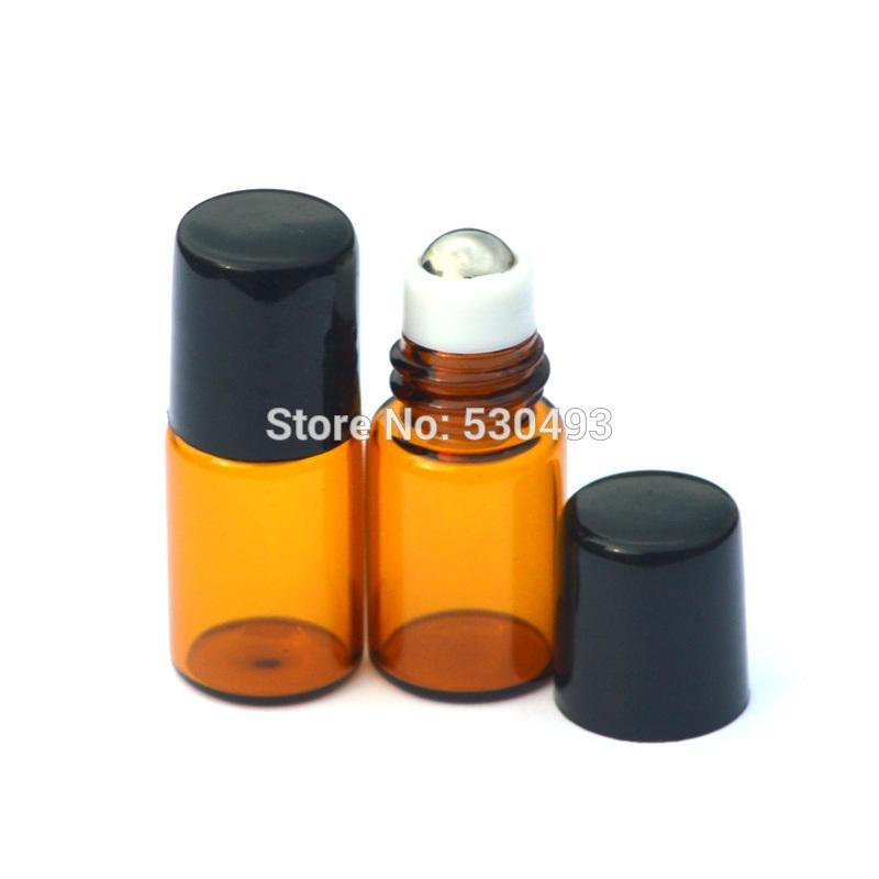 재충전 용 2ml 미니 앰버 롤 유리 병 에센셜 오일 향수 검은 플라스틱 뚜껑 500pcs와 병에 작은 샘플 롤러