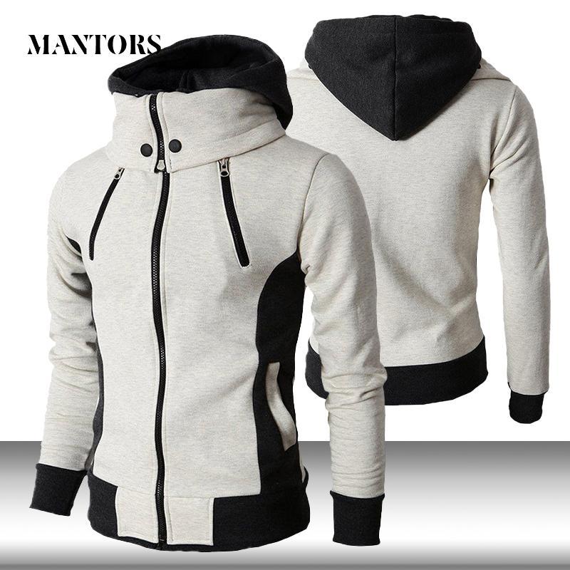Männer Zipper Hoodies beiläufiger Fleece-Herbst-Winter neue fester Hoodys Anzug Schal-Kragen mit Kapuze Männer Fitness Hoody Mantel
