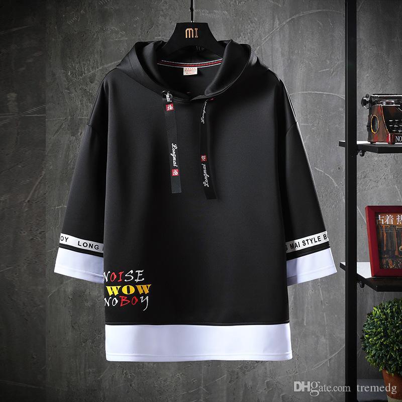 Sweater masculin Hommes Casual High Street Letter Print T-shirt Été Sweats à hip HOP HOP HOP HOP AVOIR CAP POCHE POCHE Demi-manche Top T-shirt Mode