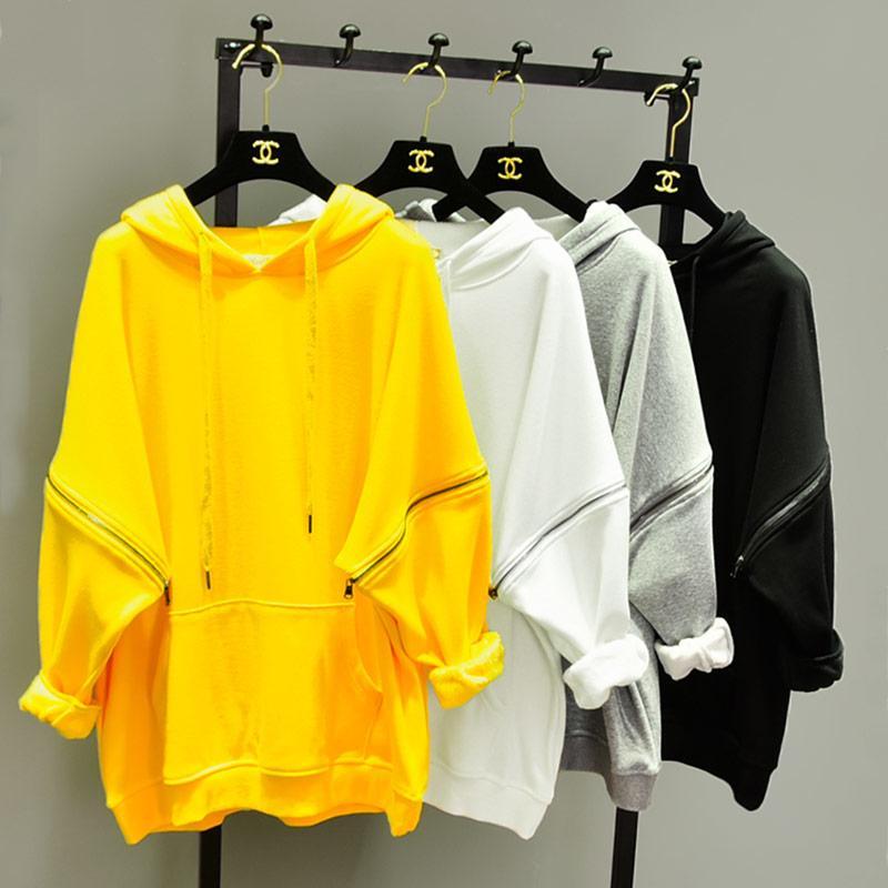 Trend-setter 2019 Осень-Зима Толстовка Хай-Стрит с капюшоном Женщины Свободные желтые пуловеры с молнией с капюшоном Большой размер Y190823