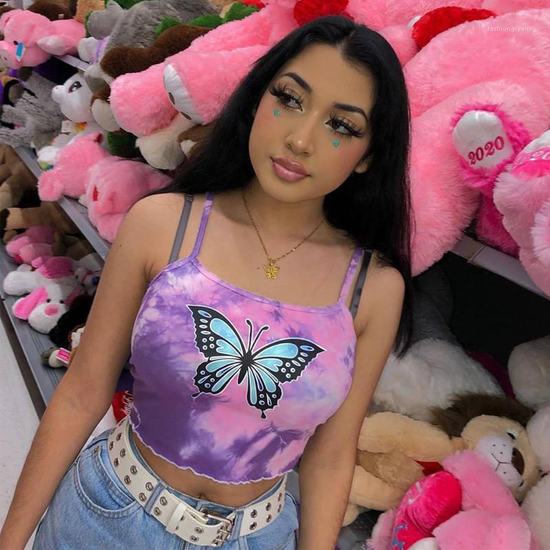 COURTES Bracelet Tube Top Gilet Tanks été papillon Femmes 3D Imprimer Sexy camisoles Cartoon Sling Gilet