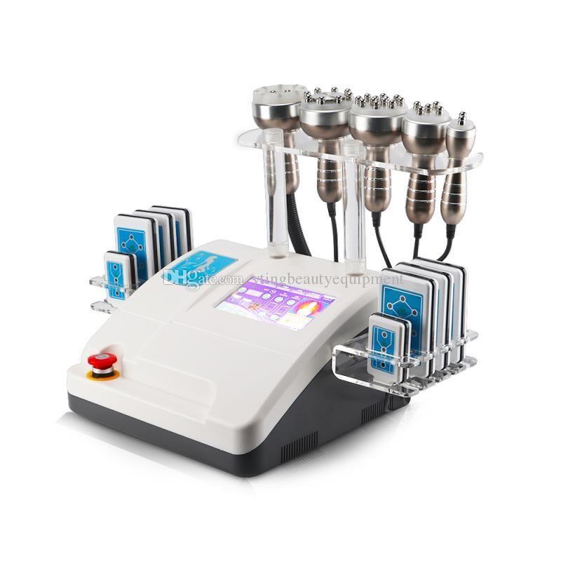 6 в 1 портативные 40K толстой кавитации Ультразвуковая кавитация вакуумный вакуум RF-корпус потерю веса 160 МВт Липо лазерное тело для похудения машина красоты