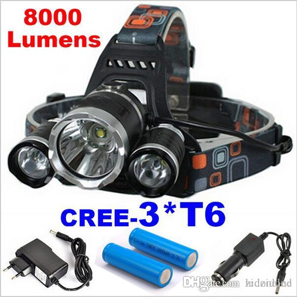 Super 3T6 lumineux 8000Lm 4 Modes CREE XML 3 * T6 phares LED Lampe frontale Lampe torche Camping Pêche Chasse Flashlight