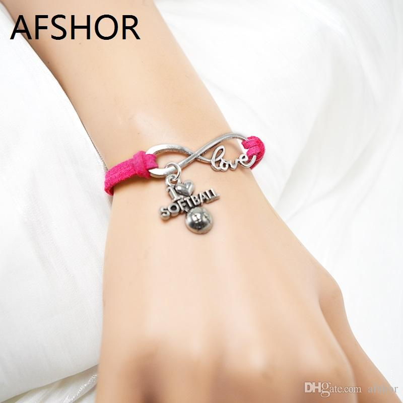 Hot Top Quality Rose Red Leather Suede Braided Wrap Cuff Bracelets With Infinity Love Softball Pendant Charm Bangles For Female Male Jewelry