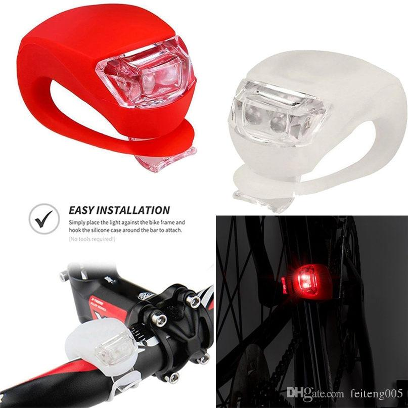 2 LED Silicone Bike Lights Front /& Rear Cycle Safety Set Clip on UK STOCK