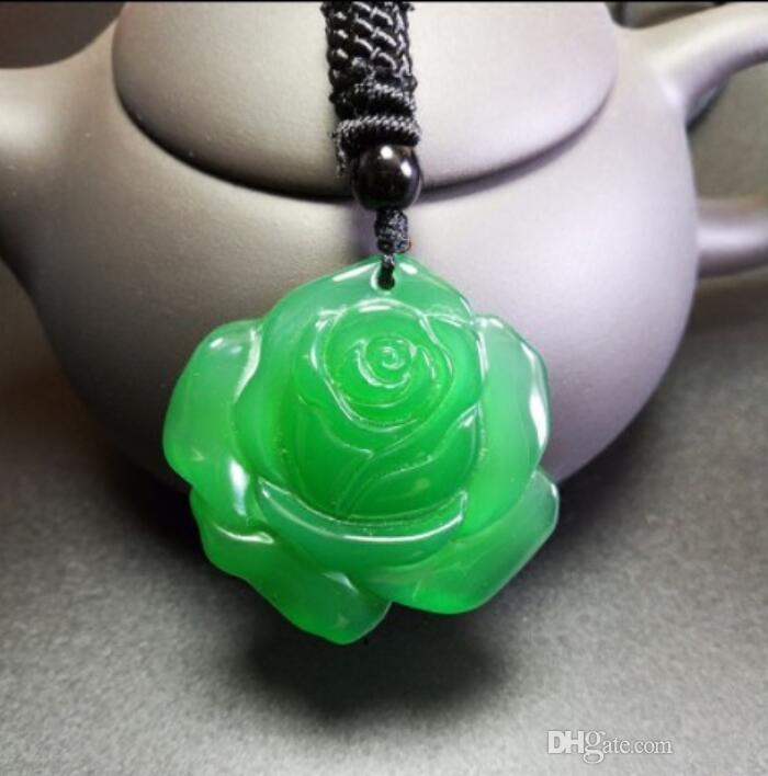 Natural Genuine Ice Seed Green Chalcedony Agate Rose Pendant Fashion Birthday Gift Women's Jade Necklace Pendant