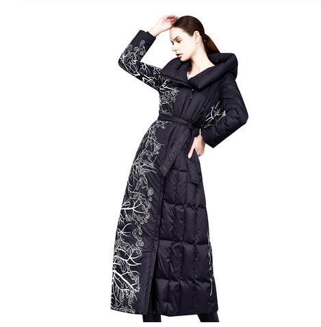 Зимняя мода embriodery печатные толстые пушистые пальто из утиного пуха женские негабаритные выше колена более длинные теплые пальто из утиного пуха F303