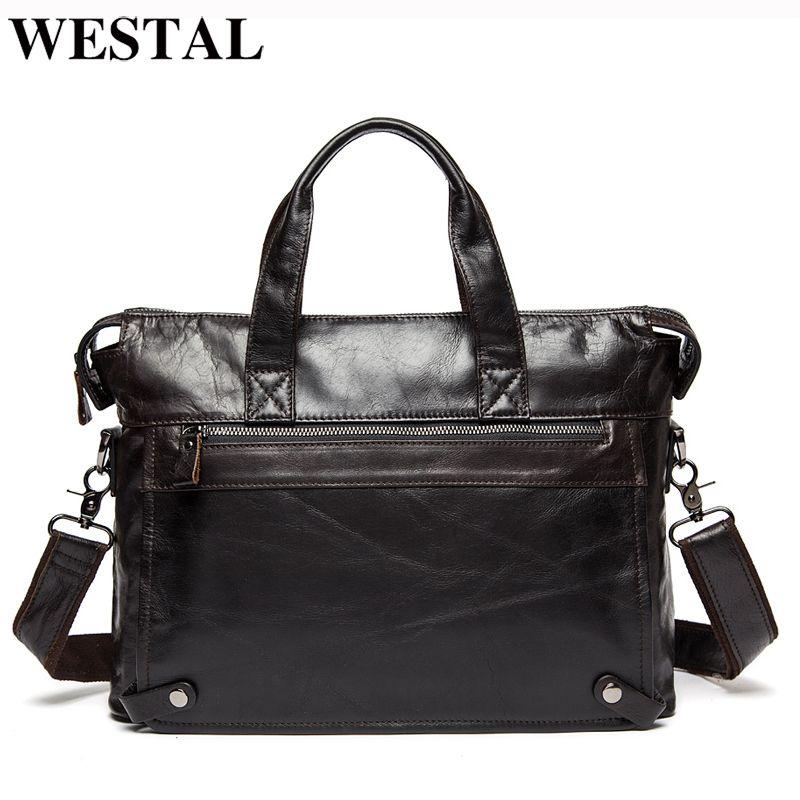 Westal Men Briefcases Bolso de cuero genuino de los hombres Maletines de negocios Bolsos para portátiles Messenger Bag Men Leather Office Bag 9013 Y19051802