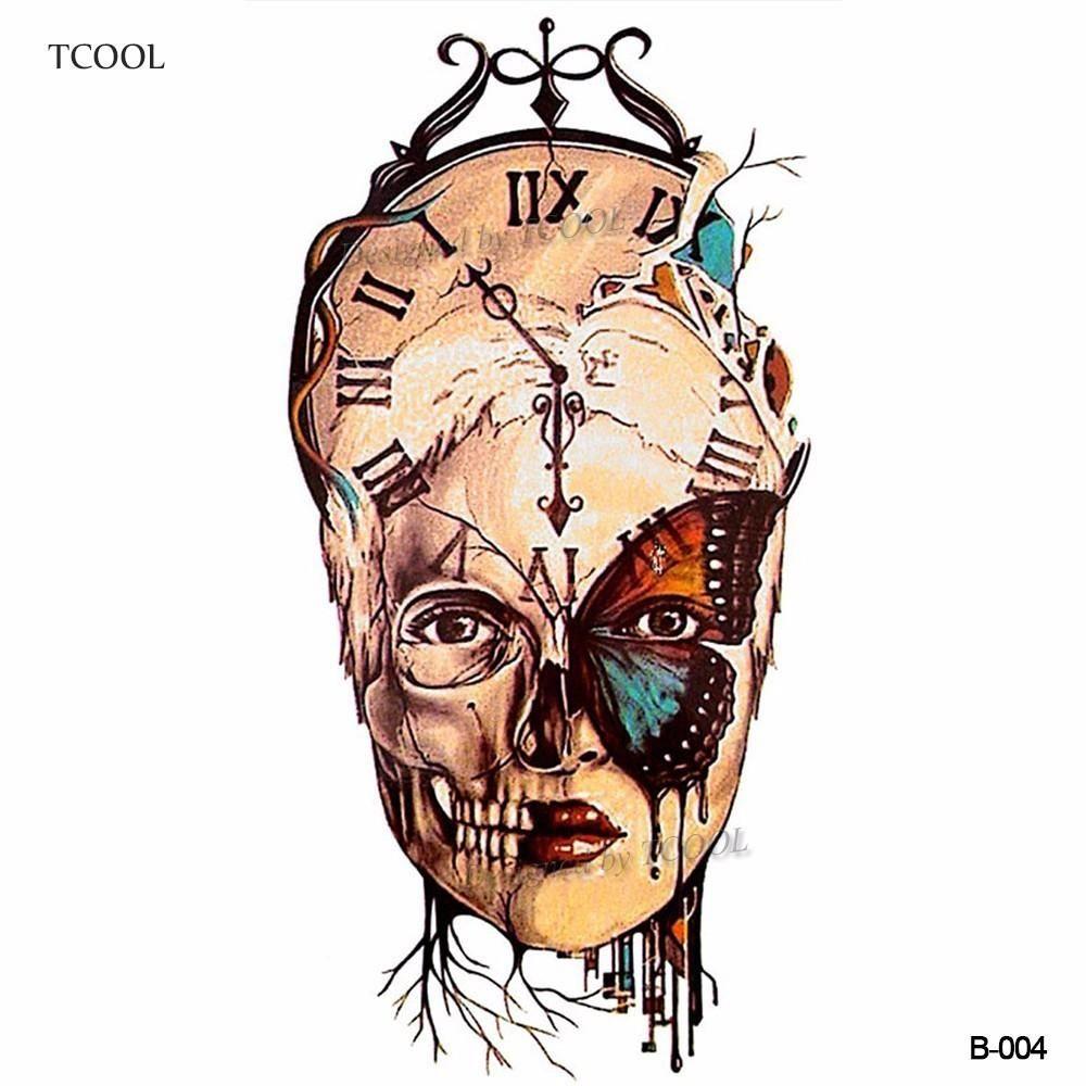HXMAN cranio delle donne Temporary Tattoo Sticker impermeabile modo degli uomini Body Art Tatoo animale mano tatuaggi carta 9.8X6cm B-004