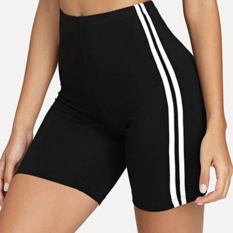 Contraste Cyclisme rayé côté Shorts Vêtements de sport femmes Skinny Biker Shorts 2020 Summer Casual Fitness pantalones Noir