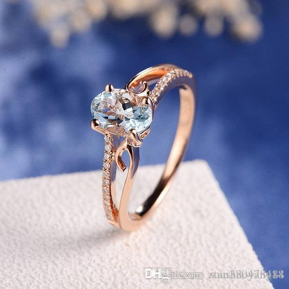 New plated 14k rose gold inlaid egg-shaped gemstone wedding engagement ring 100%new high purity boutique ladies jewelry