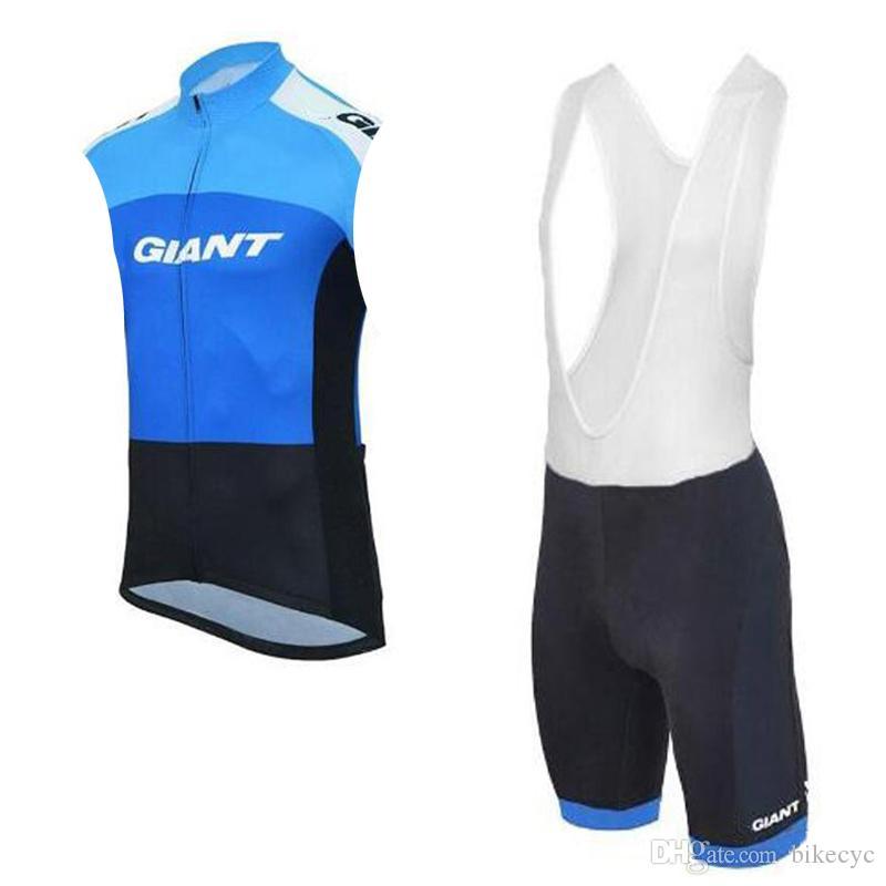 GIANT équipe cyclisme sans manches en jersey Gilet short ensemble été hommes respirant sport wear vêtements vélo vêtements U71155