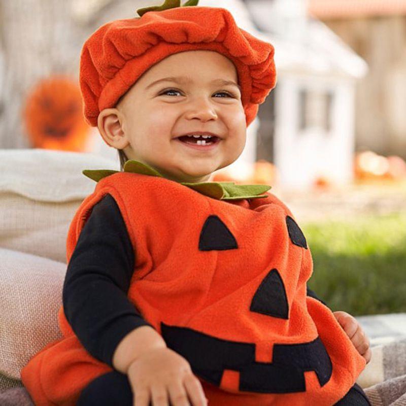 Abito senza maniche di Halloween del bambino dei capretti di zucca Fancy con il cappello di Cosplay del costume del partito Abiti per Boy Girl B88