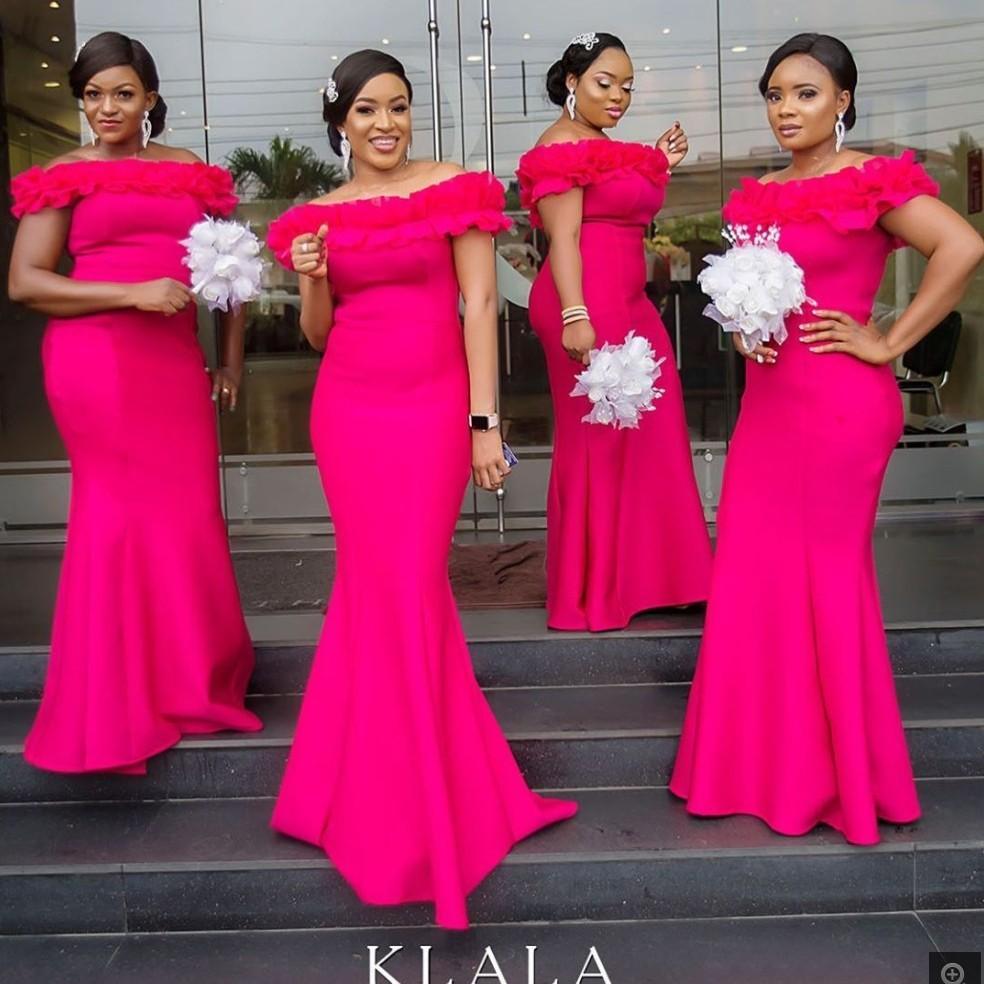 2020 New Fuchsia Mermaid dama de honra vestidos longos Ruffles Alças Robe Demoiselle D'honneur de convidados do casamento Dress For Women