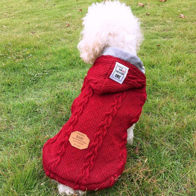 Ropa del perro Perros suéter perro de mascota por mayor ropa de perro suéter de punto, además de terciopelo de perrito caliente grueso cómodo suave