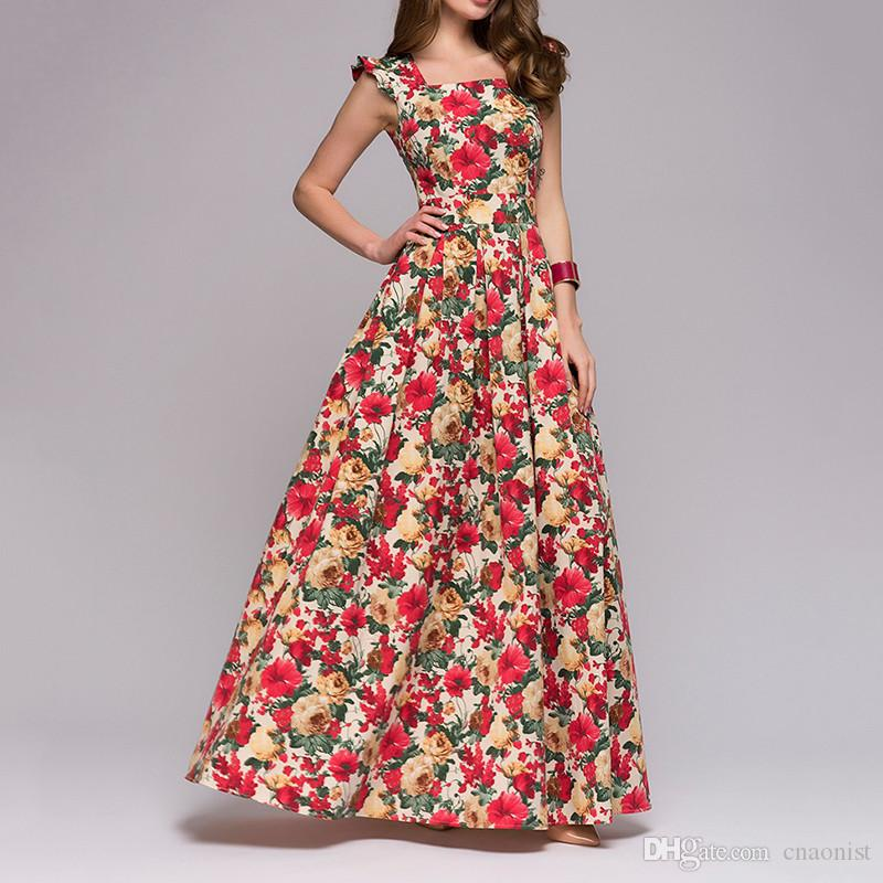 Fashion Floral Print Long Women Dresses Summer 2019 Sleeveless Maxi Woman Dress Plus Size Elegant Vestidos Sexy Women's Dresses