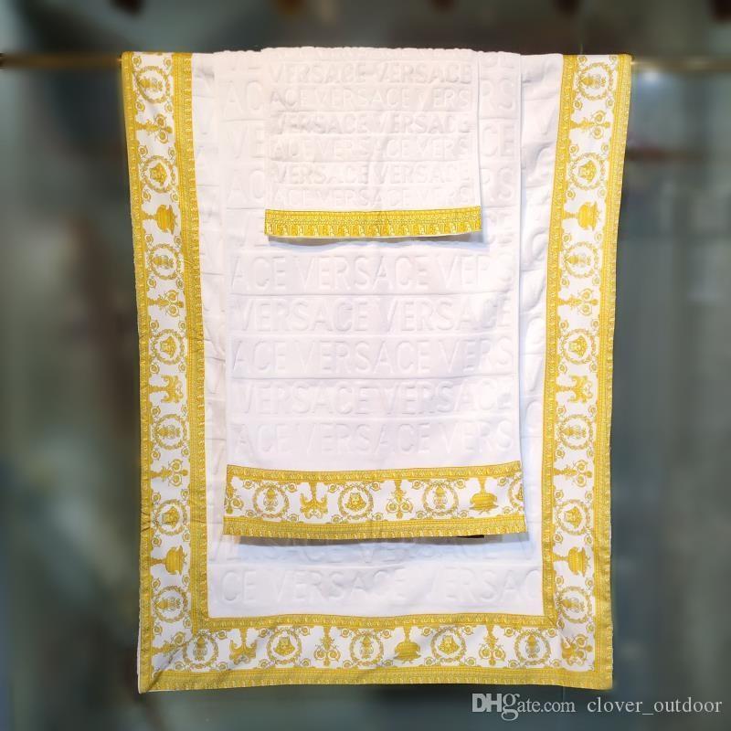 Designer Bath Towel 3 piece set towel cotton high soft quality bath towel luxury embroidered square comfortable washcloth klw1914