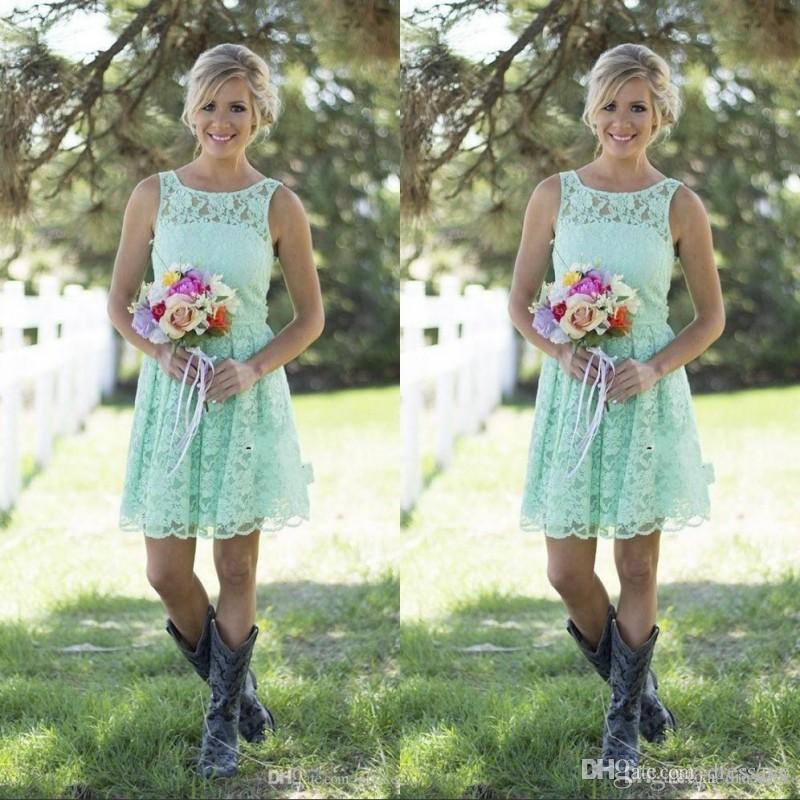2021 Country Mint Green Green Damas Damas Vestidos Mini Lace Vestido Formal Para Junior Dama De Brides Duración De La Boda Duración De La Boda Vestidos