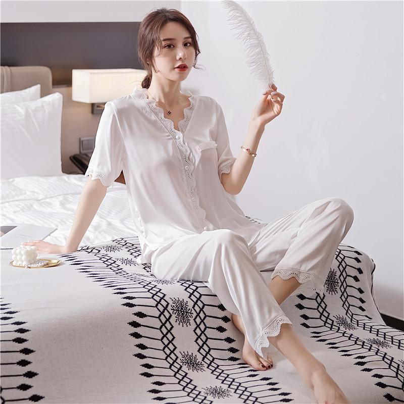 Seksi Kadınlar Pijama Takım Elbise Saten Nighrwear Ev Giyim Dantel Beyaz Pijama Uyku Seti Yenilikçi Homewear pijamalar Mahrem İç