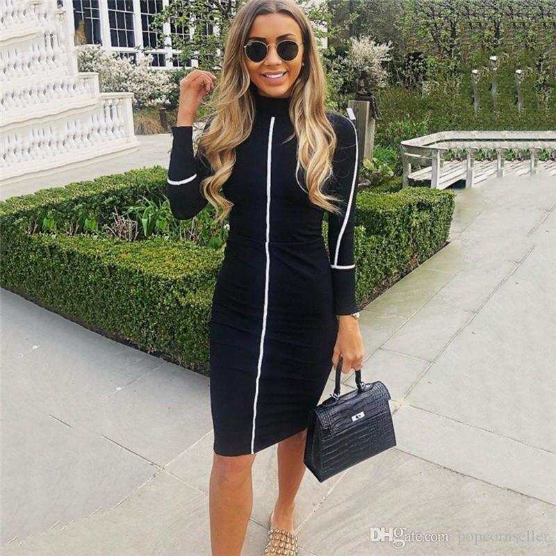 Frauen Designer Bodycon Kleider Solid Color Stehkragen Langarm Mitte Kalb Bekleidung Frauen-Sommer-Herbst Lässige Kleidung