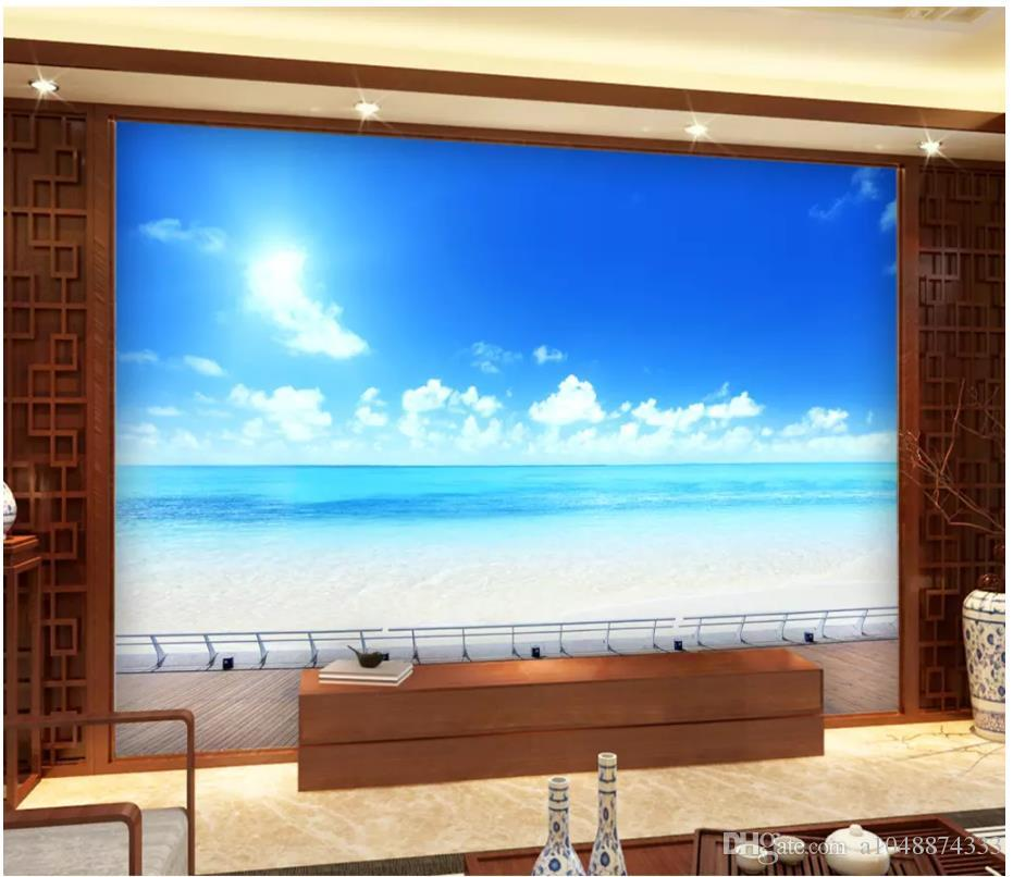 3D-Tapete benutzerdefinierte Foto Silk Wandtapete Frische und schöne Landschaft Meer TV Wohnzimmer Hintergrund Wandaufkleber papel de parede