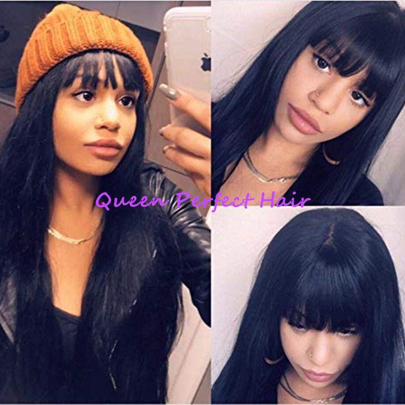 Полная челка натуральный черный длинные шелковистые прямые парики с волосами младенца жаропрочных Gluelese синтетические нет парики шнурка для Моды черных женщин