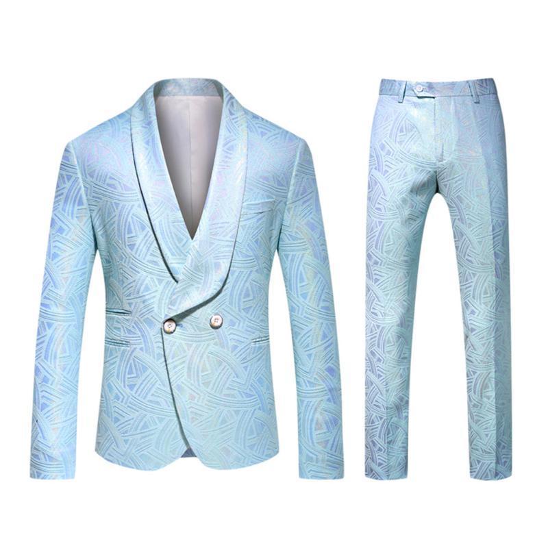 Jaqueta e calça de Luxo Homens terno do casamento masculino Blazer Slim Fit Suits Homens do traje de negócios Formal Wear Blue Classic Partido Formal