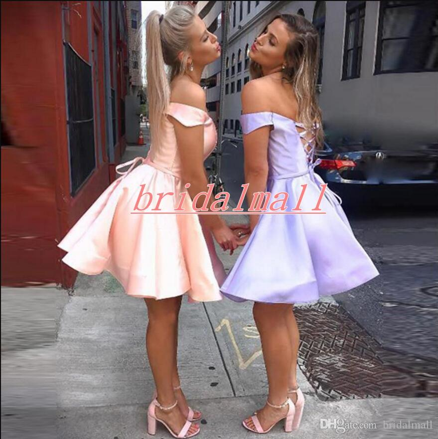 Off the shoulder Pink Satin Short Homecoming Dresses Cheap Purple Formal Party Gowns Mini Little Cocktail Graduation Dress Cocktail Lace Up