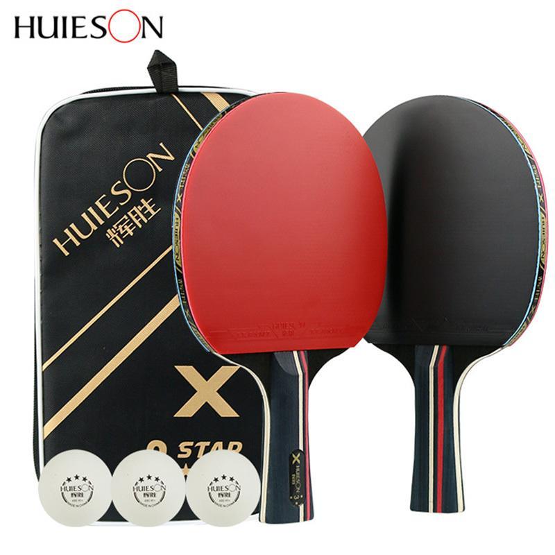 1 زوج من المطاط Huieson الجدول مضارب التنس المحترفين الكربون بينغبونغ الخفافيش شفرة طويلة البثور حاملة الريشة مضرب مع حقيبة 3 كرات T200410