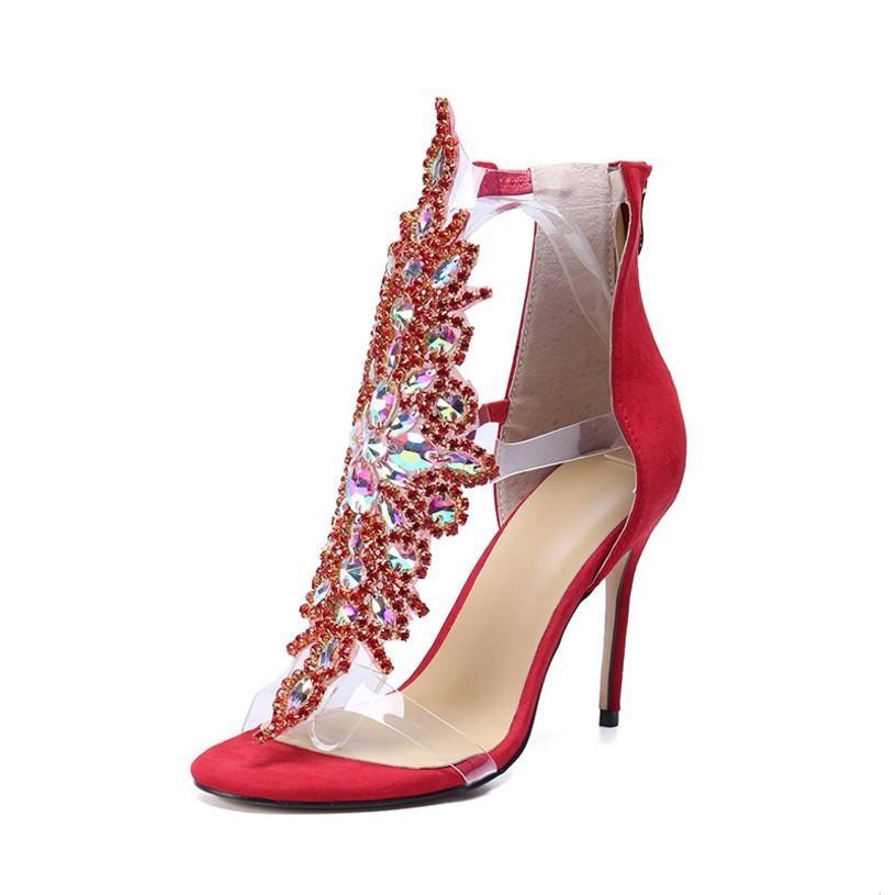 Venta-caliente una mujer de diseño atractivo zapatos de tacón alto del estilete verano talón sandalias superiores broche de oro con los zapatos solo diamante