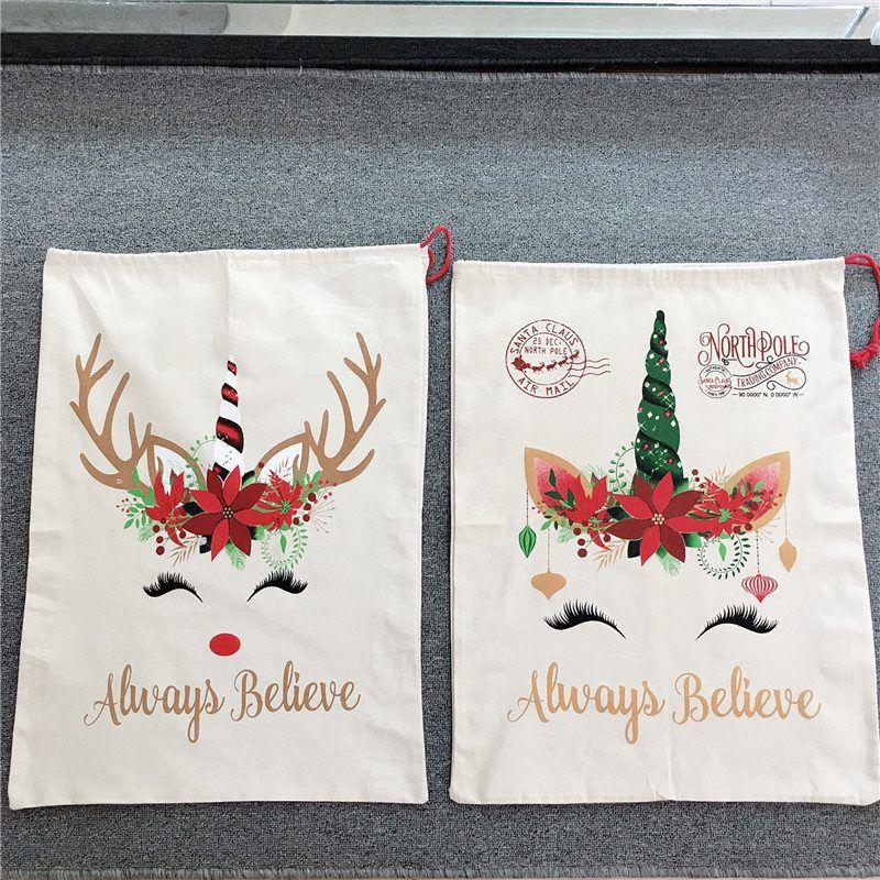 عيد الميلاد سانتا حقيبة لطيف كبير قماش الحلوى هدية كيس كلوز أكياس يونيكورن الرباط سلة 08