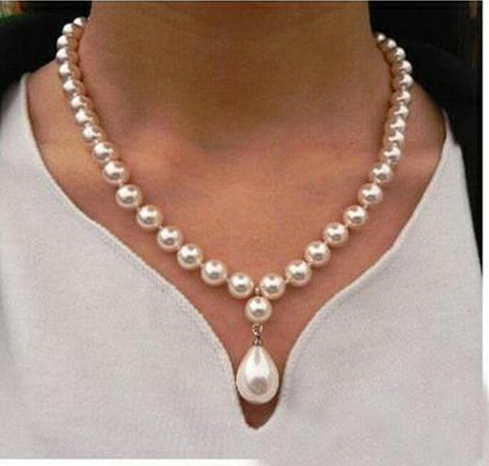 gioielli donna collana rotonda di 8mm branello bianco naturale mare del sud Shell PERLA 12 millimetri ciondolo collana 18 '' 45 centimetri CJ191221