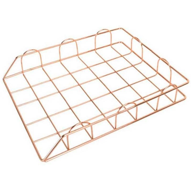 Nordic Rose Gold Metal Stackable Storage Basket Office Desktop A4 Paper Finishing Basket Magazine Newspaper Organizer Frame Rack Storage Box