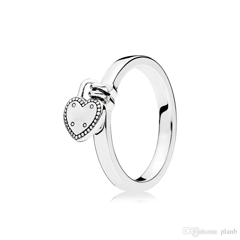 925 Sterling Silver Love Lock Ring Box originale per Pandora Heart Pendant Donne Donne Regalo di nozze Anello gioielli Set