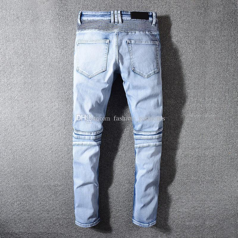 Hommes de Jeans Hip Hop Distressed Jeans Zipper Trou hommes de haute qualité Denim Ripped Pants Bleu Taille 29-42