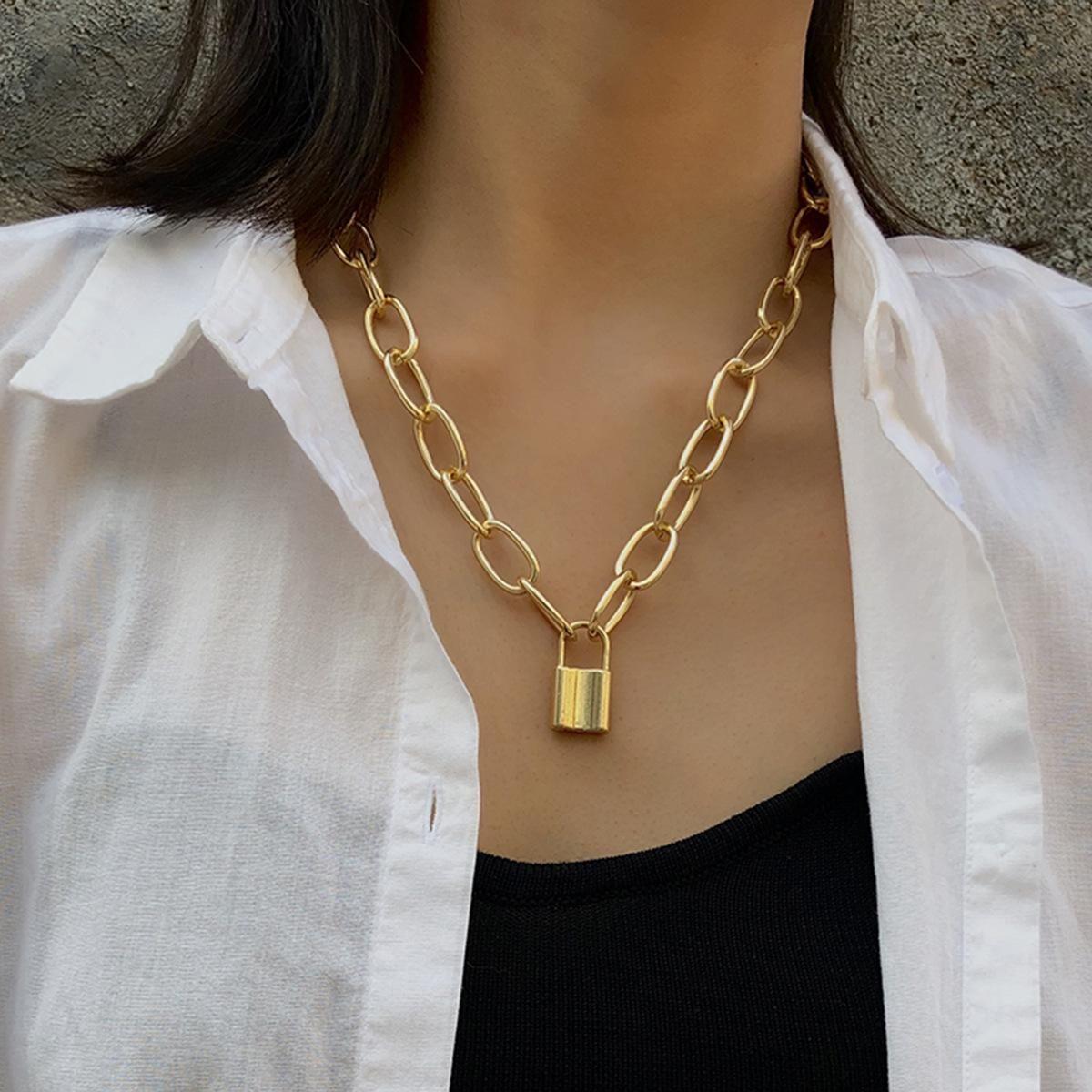 Простой элегантный Стопорные Формованные Подвески Геометрическая Подвеска Ожерелье Мода Замок для женщин ожерелье панк ювелирные подарки