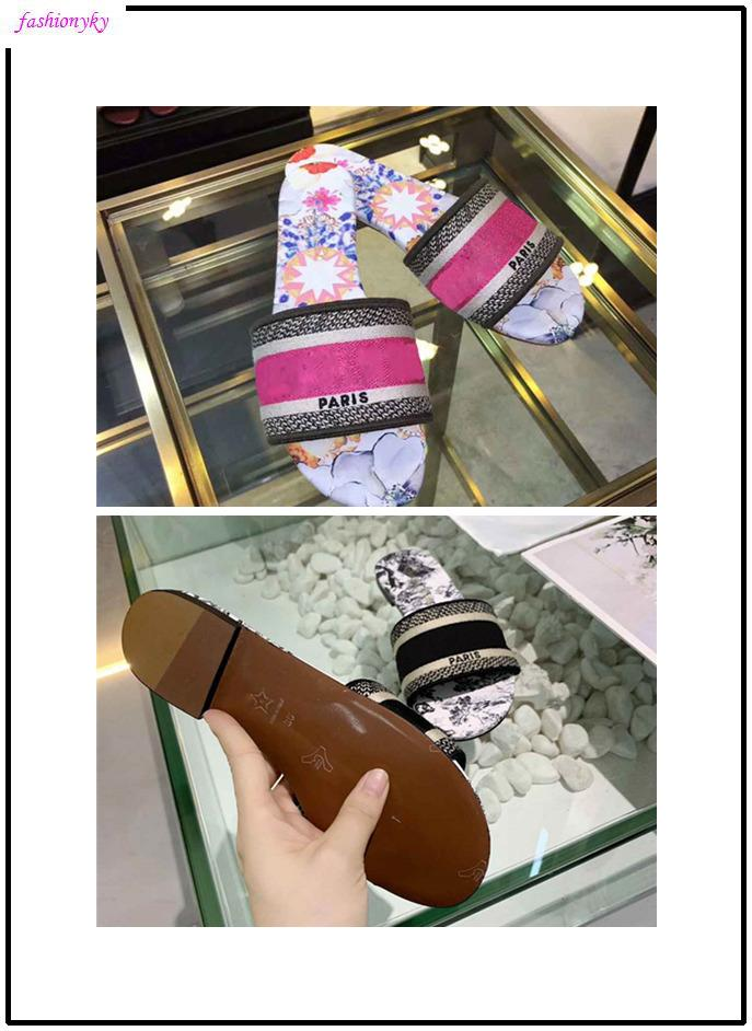 NUOVO Dazzle Fiori Pantofole donna Sandali piatti Designer Shoes diapositive Dazzle Flowers ricamo floreale a strisce Sandalo