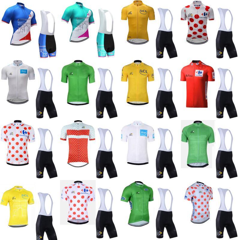 Conjuntos TOUR DE FRANCE equipo de ciclismo Jersey Bib pone en cortocircuito al aire libre de manga corta ropa de bicicleta de montaña y transpirable de secado rápido A61138