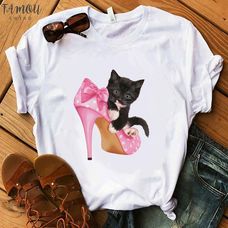 Paris Estilo T Shirt Mulheres 100% Algodão Camiseta Senhora Floral Brinco-de-rosa alta do gato Heel Tops presente Harajuku Camiseta